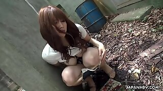 Gorgeous korean teen masturbating outdoors