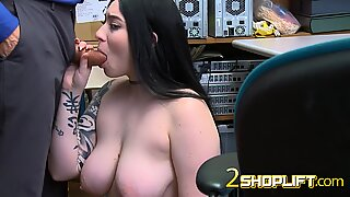 TATTOOED busty BBW giving head to fake INVESTIGATOR