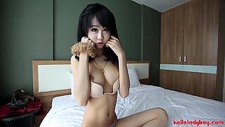 HELLOLADYBOY Little Busty Asian China Doll Takes A Big Load