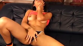 Asian Hairy Pussy On Display With Toy and Finger It