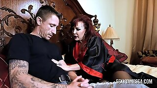 Big tit mature handsome Vanessa instructs her stepdaughter how to shag