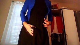 Secretary teasing in red hot trench bllue blazer black dress