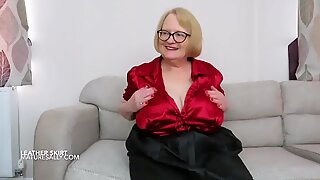 My new red satin blouse and leather look skirt
