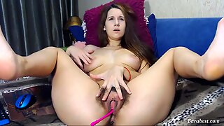 Brunette camgirl with big tits and hairy pussy on webcam