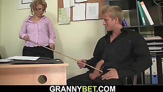 Office Mature in White Stockings Enjoys Riding