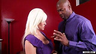 Amazing blonde Kaylee Brookshire getting huge ebony stick