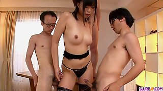 Three guys get a japanese girl - More at Slurpjp.com