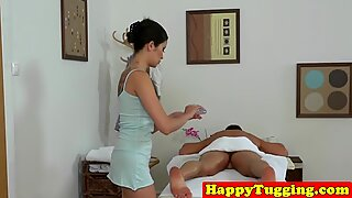 Inked japanese masseuse sixtynining for cash