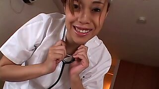 Asian nurse gives the best titty fuck to the dude