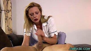 English nurse wanks dick and gets cumshot
