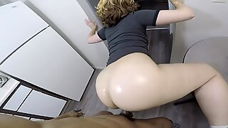 Sexy girlfriend lifts up her dress & gets fucked by a BBC in the kitchen!