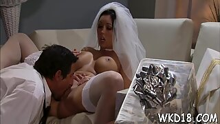 Male plays with pussy by tongue before stuffing it by schlong