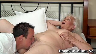 Busty granny jizzed over