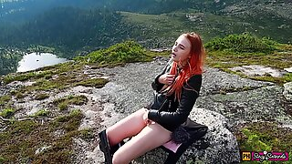 Girl Decided to Relax, Masturbate her Pussy and get an Orgasm High in the Mountains!