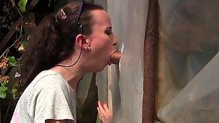 unexperienced young cougar Gloryhole Blowjob&Deepthroat Cumshot by Sylvia Chrystall