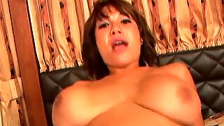 Busty and real hot Asian bitch gets ass fucked