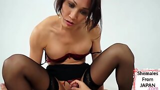 Newhalf babe mounts asian cock