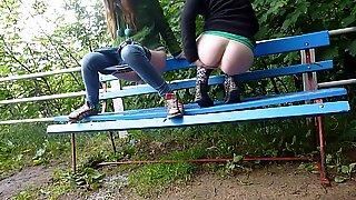 Girls Peeing on Park