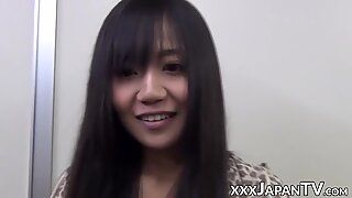 Japanese vixen riding sex toy after blowing it POV