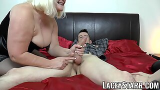 LACEYSTARR - GILF shares big cock cum with emo babe