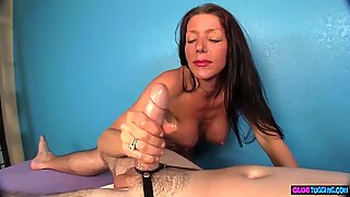 Mature massage beauty tugging clients dick