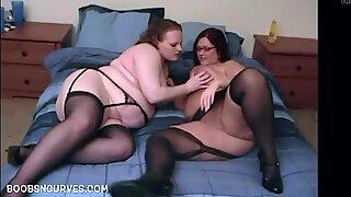 Mature big tit BBW lesbians eating pussy