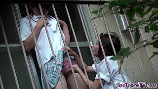Asian schoolgirls finger