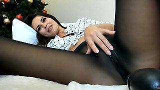 Webcam Wet in black pantyhose